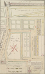 [Plan of the property of St Bartholomew's Hospital from Christ's Hospital to Smithfield]